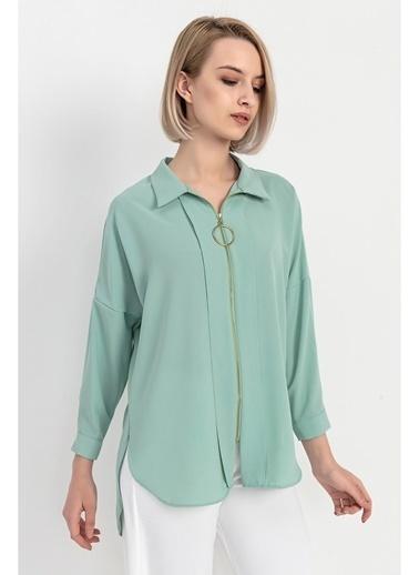 Tiffany&Tomato Fermuar Detaylı Uzun Kollu Gömlek-Mint Yeşil